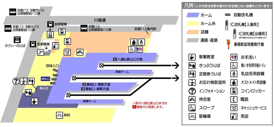 出町柳駅構内図
